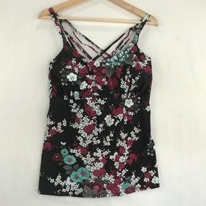 Strappy Underwire Tankini Swim Top Black Floral